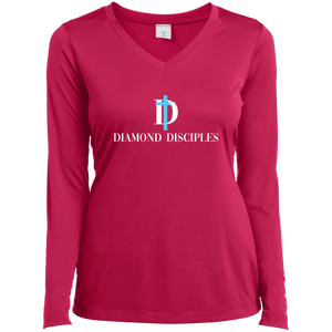 Full Logo Ladies' LS Performance V-Neck T-Shirt