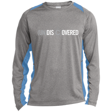 Load image into Gallery viewer, (un)disc2overed Logo  Long Sleeve Heather Colorblock Poly T-Shirt