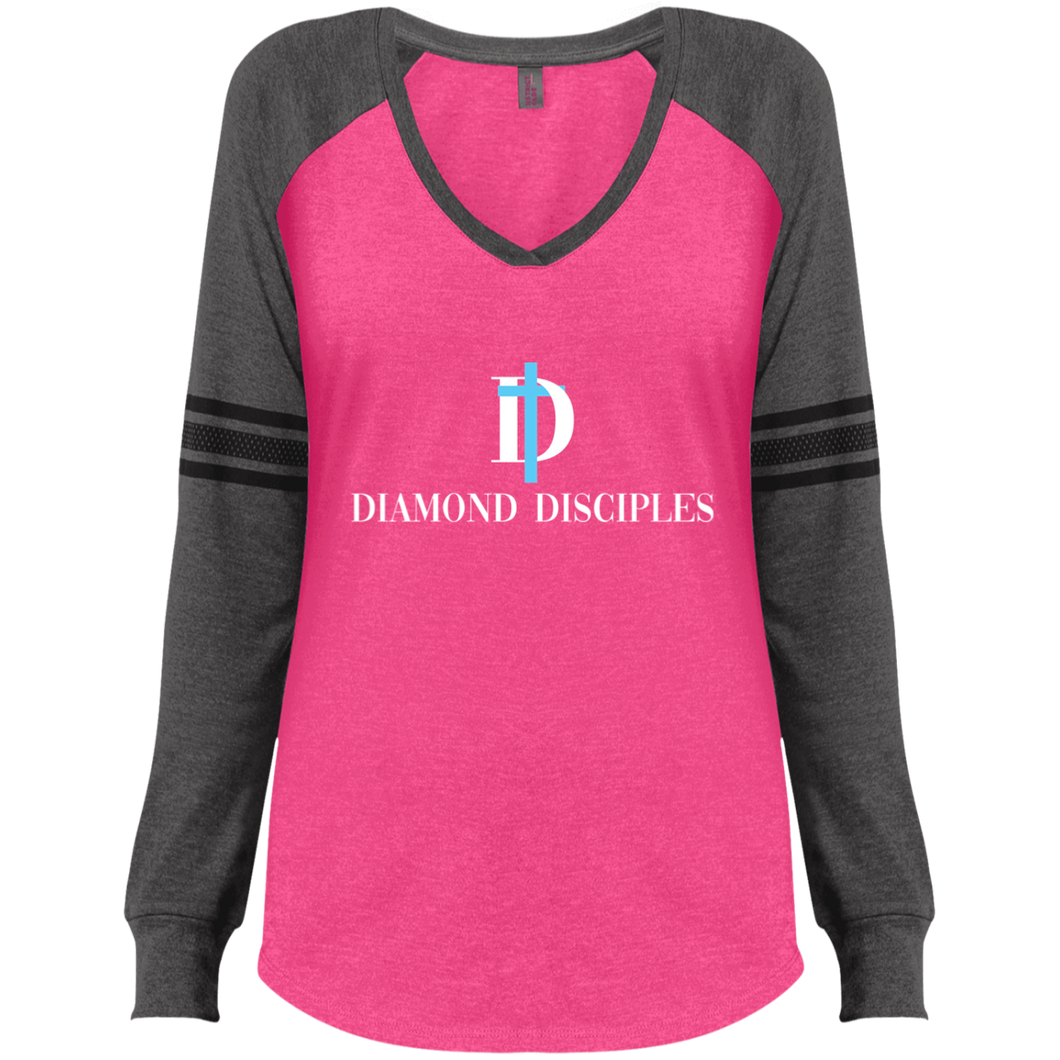 Full Logo  Ladies' Game LS V-Neck T-Shirt