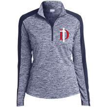 Load image into Gallery viewer, D Logo Ladies' Electric Heather Colorblock 1/4-Zip Pullover
