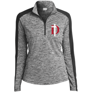 D Logo Ladies' Electric Heather Colorblock 1/4-Zip Pullover