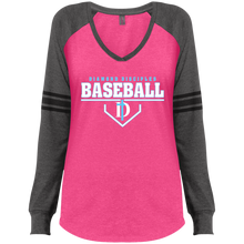 Load image into Gallery viewer, Plate Logo Ladies' Game LS V-Neck T-Shirt