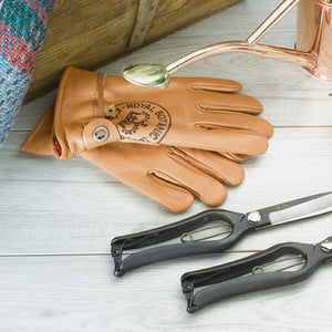 Brown leather gardening gloves, a secator and a watering can
