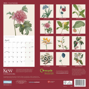 Back of the floral illustrated calendar