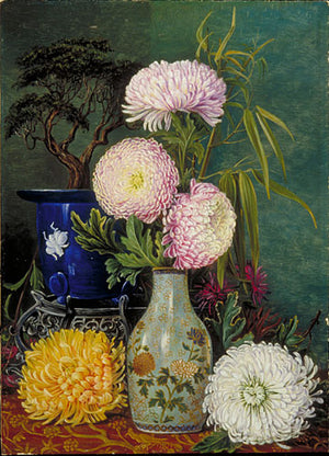 Marianne North Japanese Chrysanthemums Print