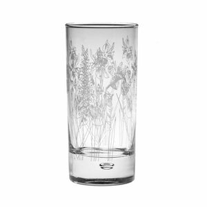 Floral etched hi ball glass