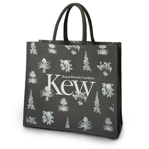 Large grey tote bag with Kew logo and floral design.
