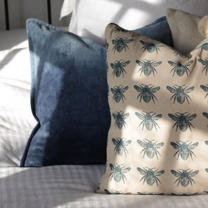 Recycled Cotton Bee Cushion in Grey and Navy