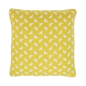 Yellow and white bee print cushion
