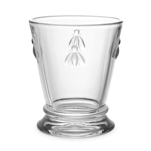Glass goblet with raised bee design