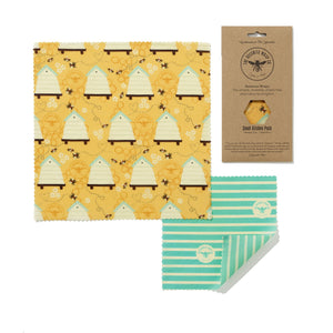 Beeswax Wraps, Small Kitchen Pack. Two wraps.