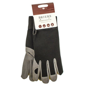 Black and grey gardening gloves