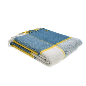 100% Wool Throw in blue, white and yellow check.