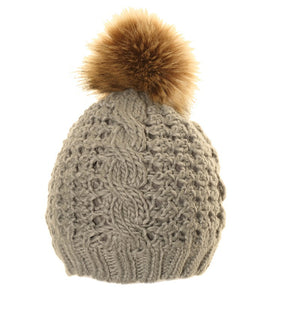Chunky Knit Bobble Hat in grey with brown fur bobble