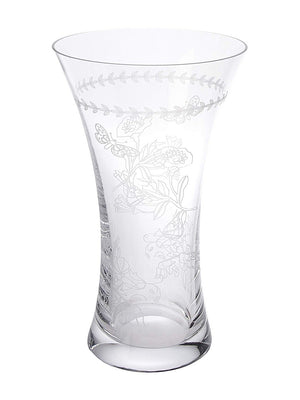 Large Crystal Vase with Floral Etching