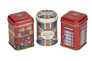 British Tea Selection. Three novelty tins containing tea, including london bus and telephone box design.