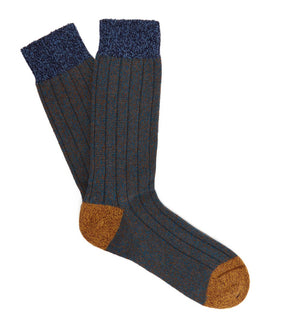 Mens Wool Socks, Petrol Blue