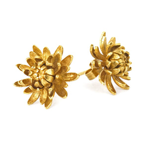 Alex Monroe Gold Chrysanthemum Flower Stud Earrings
