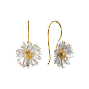 Alex Monroe Big Daisy Hook Earrings in Silver and Gold