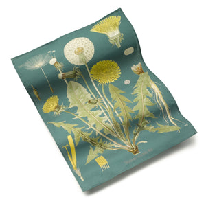 Kew Cotton Tea Towel with Teal Dandelion Design