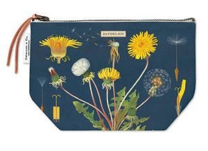 Cotton cosmetic bag in navy dandelion print