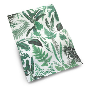 Cotton Tea Towel with Green Fern Design