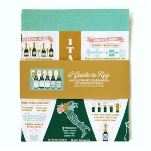 Guide to fizz tea towel
