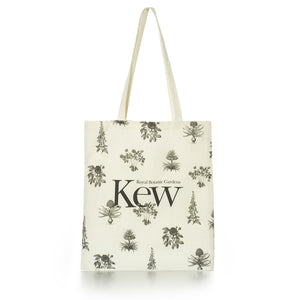 Cotton Tote Bag with Black and White Botanical Design