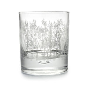 Floral etched tumbler glass