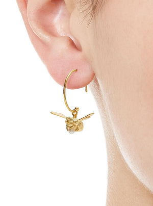 Alex Monroe Flying bee hoop earrings