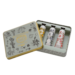 Hand cream set in tin. Contains three hand creams.