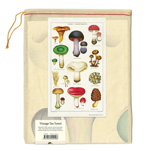 Vintage Mushrooms Cotton Tea Towel