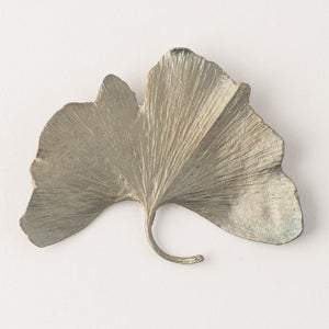 Michael Michaud Bronze Ginkgo Brooch