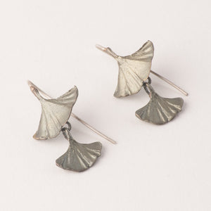 Michael Michaud bronze ginkgo leaf earrings