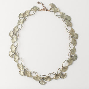 Michael Michaud bronze ginkgo leaf necklace