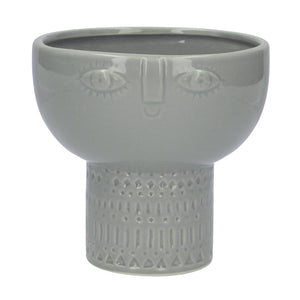 Standing Face Pot, Grey