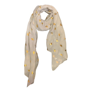 Cream scarf with metallic bee print