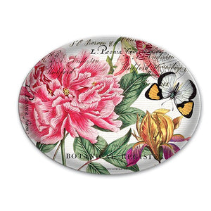 Glass Soap Dish with peony flower design