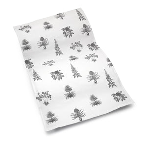 Cotton Tea Towel with Botanical Floral Pattern