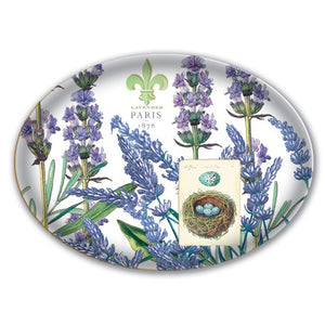 Glass Soap Dish with lavender pattern