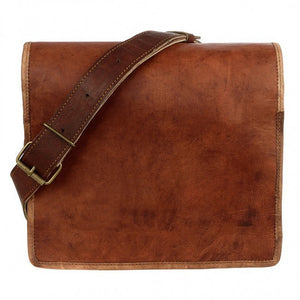 Leather Messenger Bag in rich brown colour with natural markings