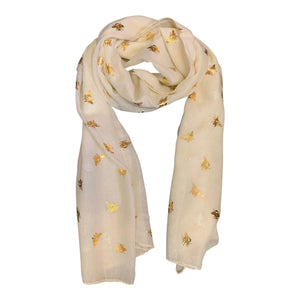 Cream scarf with gold metallic bee print