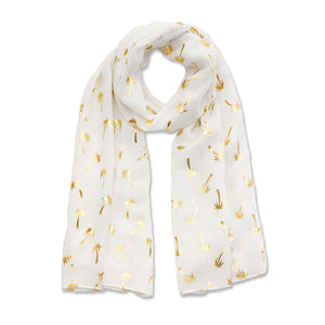 Cream scarf with gold metallic palm print