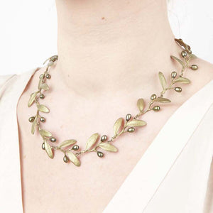 Michael Michaud bronze olive branch necklace