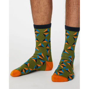 Green geometric socks