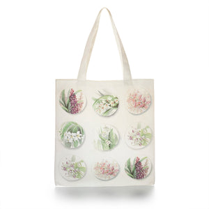 Cotton Tote Bag with Orchid Design