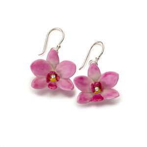 Ceramic orchid drop earrings, pink