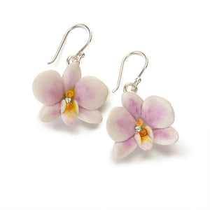 Ceramic orchid drop earrings, lilac