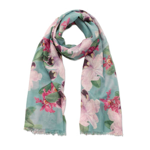Orchid Print Scarf in turquoise and pink