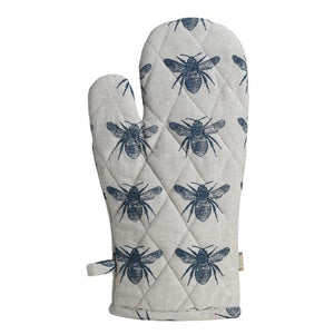 Recycled Cotton Bee Oven Glove in Grey and Navy